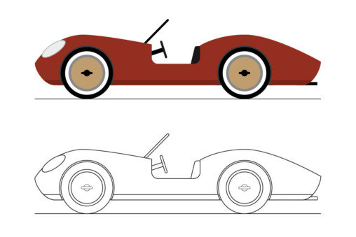Outlines of a classic Sports Car.